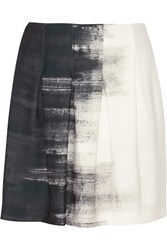 Vince Printed Satin Mini Skirt White