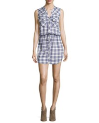 Soft Joie Noraha Plaid Sleeveless Shirtdress Porcelain Blue Porcelain Blue