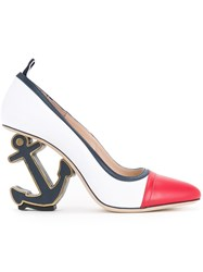 Thom Browne Anchor Heel Pumps Women Leather 36 White