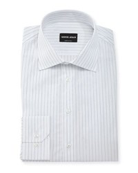 Giorgio Armani Hairline Stripe Long Sleeve Dress Shirt White