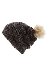 Women's Hinge Knit Pompom Beanie Black