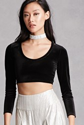 Forever 21 Velour Scoop Neck Crop Top Black