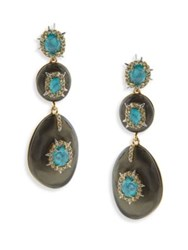 Alexis Bittar Opalescent Crystal And Turquoise Drop Earrings Ash