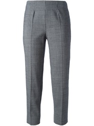 Piazza Sempione Square Pattern Cropped Trousers Grey