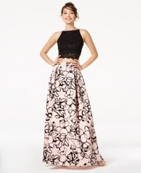 Jump Juniors' 2 Pc. Sequined Lace And Floral Velvet Gown Pink Black