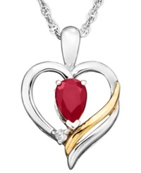 Macy's 14K Gold And Sterling Silver Pendant Ruby 1 2 Ct. T.W. And Diamond Accent