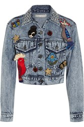 Alice Olivia Chloe Embellished Denim Jacket Indigo