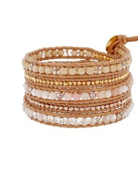 Chan Luu Pink Opal Red Hematoid Quartz Leather And 18K Gold Plated Sterling Beaded Bracelet