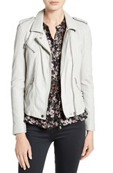 Rebecca Taylor Women's Washed Leather Jacket Pale Grey