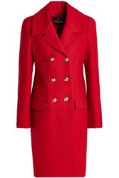 Roberto Cavalli Double Breasted Wool Blend Coat Claret