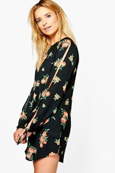 Boohoo Ruby Floral Cut Out Long Sleeved Shift Dress Multi
