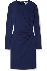 Max Mara Colimbo Ruched Wool Crepe Dress Blue