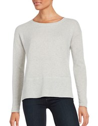Lord And Taylor Long Sleeve Cashmere Pullover Light Grey Heather