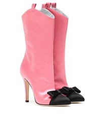Alessandra Rich Satin Ankle Boots Pink