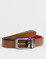 Ted Baker Hock Reversible Perforated Belt In Brown