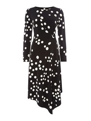 Linea Jax Polka Dot Jersey Dress Black And White Black And White