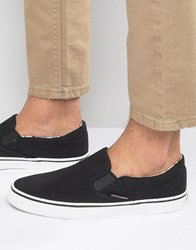 Jack And Jones Surf Canvas Slip On Trainers Black