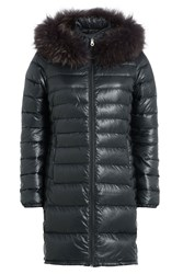 Duvetica Quilted Down Jacket With Fur Trim Grey