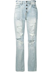 Amiri Distressed Straight Fit Jeans Blue