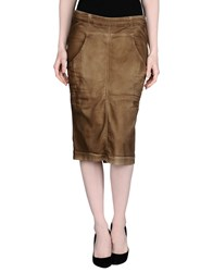 Manila Grace Denim Skirts Knee Length Skirts Women Khaki