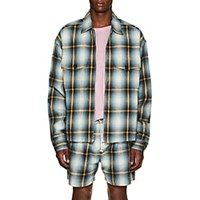 Adaptation Checked Cotton Flannel Zip Front Jacket Multi