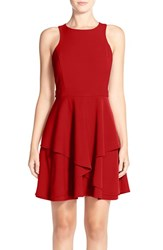 Women's Adelyn Rae Gabardine Fit And Flare Dress Red