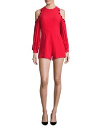 Alexis Asher Button Trim Cold Shoulder Romper Red