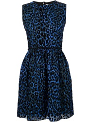 Victoria Victoria Beckham Leopard Print Flared Dress Blue