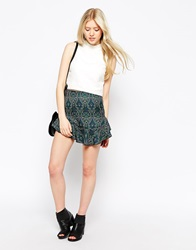 Neon Rose Peacock Peplem Skirt Black