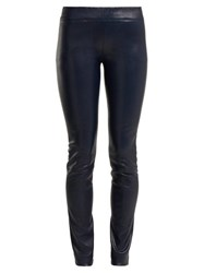 The Row Moto Low Rise Leather Trousers Navy
