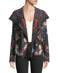 Johnny Was Syril Patchwork Embroidered Cardigan Charcoal