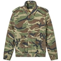 Saint Laurent Vintage Camo Shearling Aviator Jacket Green