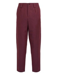 Etro Cropped Linen And Wool Blend Trousers Purple