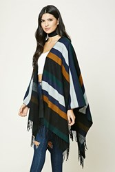 Forever 21 Fringed Colorblock Shawl Black Navy
