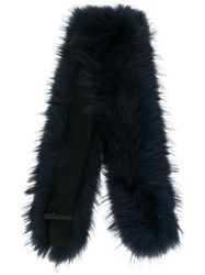 Max And Moi Long Fur Collar Blue