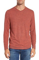 Tommy Bahama Men's 'Leeward' V Neck Long Sleeve T Shirt Lobster