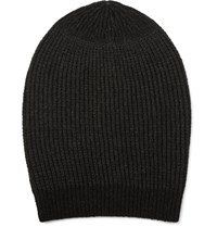 Rick Owens Ribbed Knit Cashmere Blend Beanie Dark Brown