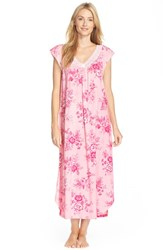 Women's Carole Hochman Designs Flower Print Cap Sleeve Long Nightgown Damask Garden Pink