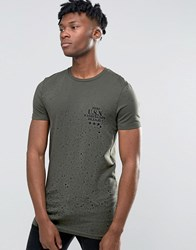 Asos Longline Muscle T Shirt With Splatter Print And Military Chest Print In Dark Green Forest Night