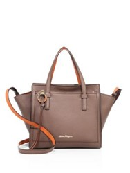 Salvatore Ferragamo Mini Two Tone Leather Tote New Mocha