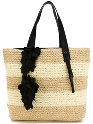 Twin Set Woven Striped Tote Bag Nude And Neutrals