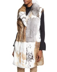 Co Long Patchwork Rabbit Fur Vest White White Pattern