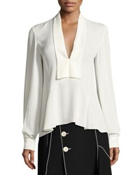 Derek Lam V Neck Silk Blouse White