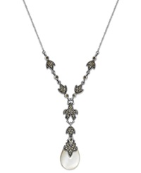 Genevieve And Grace Sterling Silver Necklace Mother Of Pearl 5 7 8 Ct. T.W. And Marcasite Teardrop Y Pendant