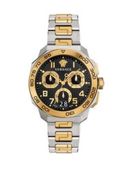 Versace Dylos Chrono Two Toned Stainless Steel Bracelet Watch