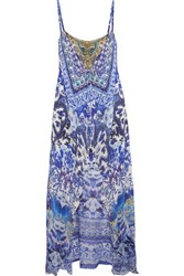 Camilla Asymmetric Embellished Printed Silk Mini Dress Light Blue