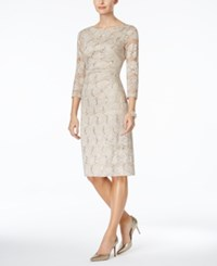 Jessica Howard Sequined Lace Sheath Dress Taupe