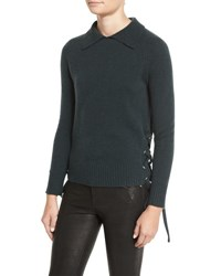 Frame Side Tie Cropped Sweater Spruce Green
