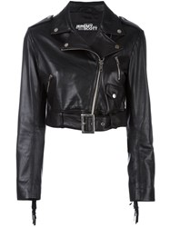 Jeremy Scott Cropped Biker Jacket Black