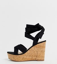 Truffle Collection Wide Fit Tie Ankle Wedges Black